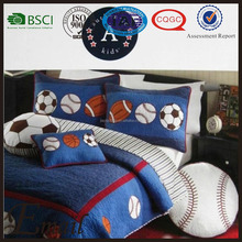 Sports football applique boy quilt bed sheet kids queen cartoon bedding set