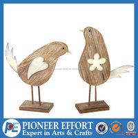 Wooden bird natural small wood decoration