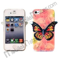 Dustproof 3D Butterfly Pattern IMD Craft Flexible TPU Back Cover Case for iPhone 4 / 4S
