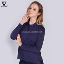 purple color 100% cotton fabric ladies long sleeve polo shirts
