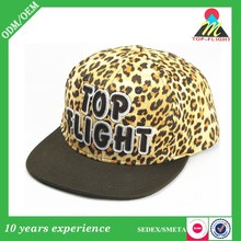 Custom fashion womens hot sex image leopard print flat brim applique embroidery snapback cap