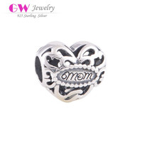 Mother Day Gift Antique Heart Model Sterling Silver Charms Wholesale