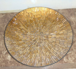 round gold fruits nuts mosaic crackle glass plate