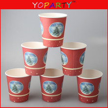 customized chirstmas design POLKA DOTS Disposable Cafe COFFEE Paper Hot Tea/ Coffee Cups 8oz 250ML