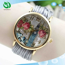 Wholesale fashion watches 2015 vogue rose flower picuure gold dial watch