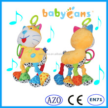 2015 baby gift baby teether plush toy with music baby crib hanging toy cute cat