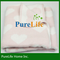 Very lovely pink love pattern cotton knit new baby throw blanket for girl