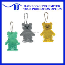 High quality hot selling bear shape Plastic reflective keychain with logo printing for promotion ABL400