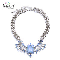Fashion jewelry ethnic necklace sliver chain animal necklace NL12644