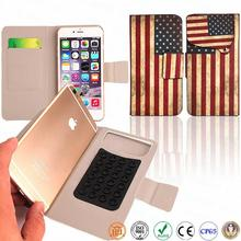 4.7 inch powerful electromagnetic chuck universal flag leather phone case for iphone 6