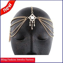 2015 Spring Indian hair accessories gold plated with crystal metal head chain