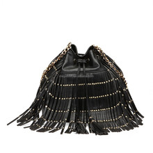 Black Studs Designer Wholesale Trendy Fringe Custom Drawstring Fashion Bag