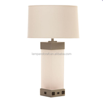 white glass tube nightstand table lamp with power outlet and USB port in the base