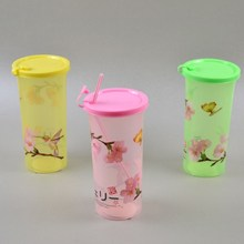 Sealed flower pinting plastic cup with lid