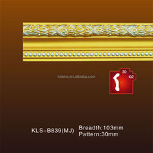 Waterproof Nature Golden Color Polyurethane Designs Ceiling for House