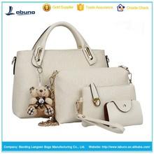 2015 hot sale 4 pcs in 1 set bags lady women pu leather handbag long handbags