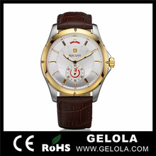 Advertising most popular products high quality luxury sapphire glass watch with genuine leather strap