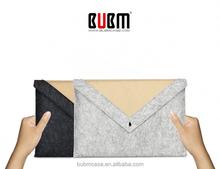 BUBM laptop bag triangle Felt Sleeve Case feeling balck velour pockets magnetic button protector briefcase for laptop 11 13 15