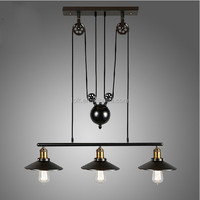 Mirror glass industrial pulley ceiling lamp fabric calbe ceiling light plating gun black chandelier