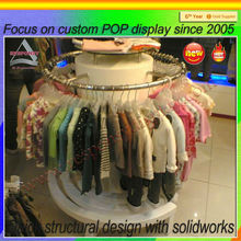 Tailor made free standing round children clothes display stand