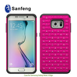 Pearls Diamonds Crystal PC Silicone Hybrid Case Cover For Sam Galaxy Note 5 Edge Protective Covers