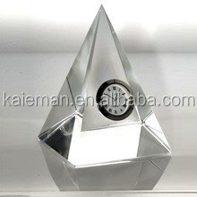 fashion crystal gift , crystal table clock, pyramid crystal clock