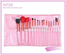 private lable face brush factory 16pcs colored makeup cosmetic brush bag