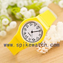 Promotion Chinese dial simple plastic analog yellow color children watch