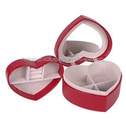 High Quality Fashion Case wholesale Gift Jewelry PU Leather Jewelry Case/Travel Jewelry Case with mirror Made In China