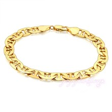 New Arrival Latest Design Gift Yellow Gold Plated 18k Flat Mariner Anchor Link Chain Bracelet