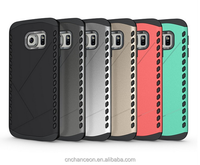 Fashion Shield pattern 2-in-1 TPU PC mobile phone case for Samsung S6 edge CO-MIX-9028