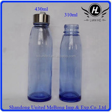 430ml and 310ml clear blue glass water bottle with screw cap