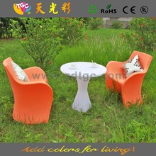 PE material plastic outdoor furniture multicolored table and chair for coffee shop