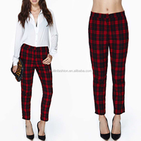 2014 high grade latest fashion red plaid corduroy pants in women clothes