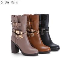 botas de hebilla de cinturón medio al por mayor de la fábrica, suela gruesa de tacón alto botas cortas de goma mujer