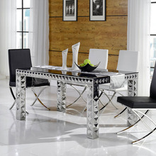 new style tempered glass & mdf dining table 877#