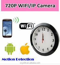 2015 H.264 720P WIFI Wireless Wall Clock Hidden Camera with TF card remote control /digital cmos clock/DVR+GSM