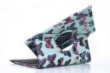 Butterfly design rotating leather cover case for iPad 6