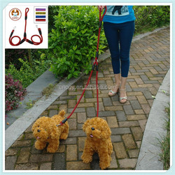 Braided Double Dog Leash Nylon 2 Way Coupler Rope Two Dogs