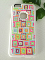 Checked emroider cover hot sell mobile cover high-end fashion cover for mobile phone 6