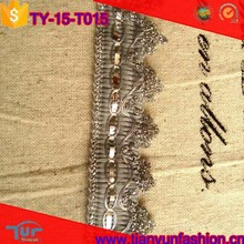 shiny wave customized design china knitting mill cheapest silver braided trim