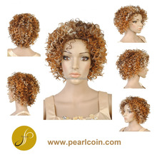 Affordable Short Light Brown Curly Hair Top Quality Synthetic Wig