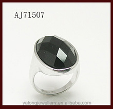 Men rings zinc alloy Jewelry rings bezel setting black agate big rings