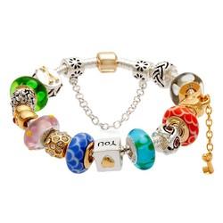 Bracelets, Hot Sell gift for Women Fashion Love DIY European Murano Glass Beads Silver Bead Charm Bracelet