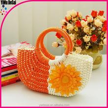 Spinning round bucket lovely female sunflower straw package bag portable beach bag