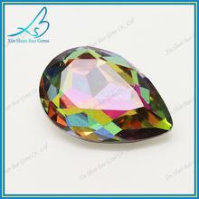 Wuzhou supplier sale pear cut multicolor glass jewel stones