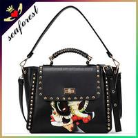 Latest popular fashion cool design PU leather handbags women
