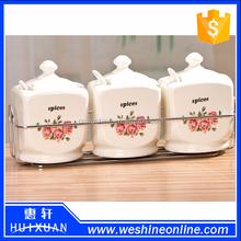 wholesale ceramic spice jar,custom porcelain jar with lid,ceramic canister set