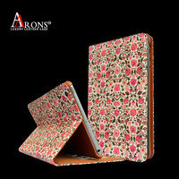 Colorful rose flowers printing leather case cover for ipad mini 2 case