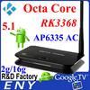 RK3368 Octa Core LAN 100/1000M Base-T Kodi and 4k Fully Support External Antenna Android TV Box